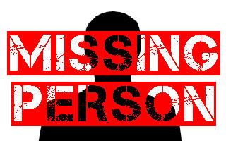 "A black shadow in the shape of a person with the wording ""Missing Person"""
